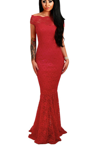 Off The Shoulder Red Lace Mermaid Evening Gown