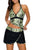 Olive White Spots Halter Tankini Wrapped Skirt Swimsuit