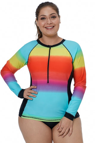 Ombre Color Block Long Sleeve Rash Guard Top