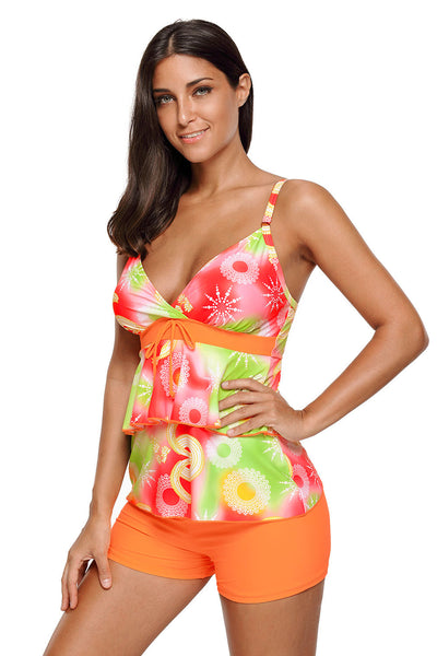 Orange Green Boho Print 2pcs Tankini Swimsuit