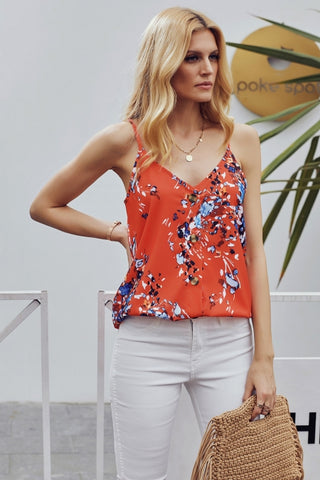 Orange Floral Print Button Down Tank Top