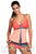 Orange Pink Colorblock 2 Pieces Tankini Skort Bottom Swimsuit