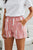 Pink White Tie Dye Drawstring Casual Shorts