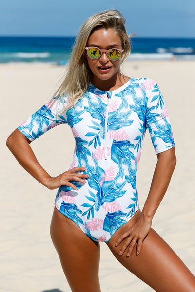 Pink Blue Leaves Zip Front Half Sleeve One Piece Swimsuit