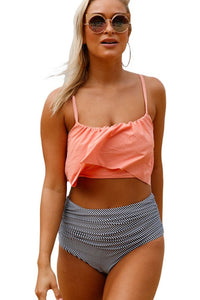 Pink Glowing Top and Striped Bottom High Waist Swimwear