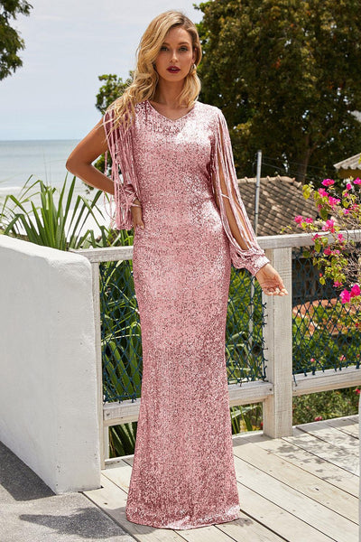 Pink Sequin Fringe Sleeve Maxi Party Evening Dress