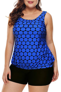 Plus Size Blue Black Polka Dot Tank Top and Short Swimsuit