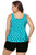Plus Size Cyan Black Polka Dot Tank Top and Short Swimsuit