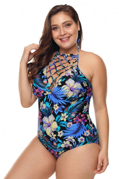 Plus Size High Neck Hollow Out Floral Teddy Swimwear