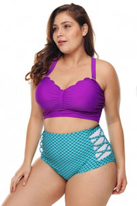 Plus Size Purple Blue Scalloped Detail High Waist Swimsuit