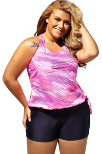 Plus Size Rosy Print Blouson Tankini Swimsuit with Black Board Shorts