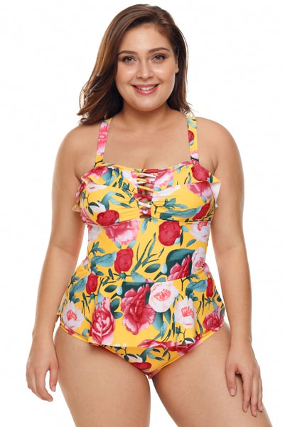 Plus Size Yellow Floral Print Peplum Teddy Swimsuit