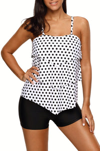 Polka Dot Print Ruffle Layered 2pcs Tankini Set
