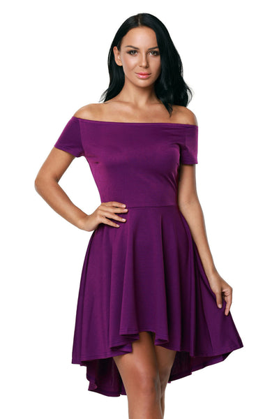 Purple All The Rage Off Shoulder High Low Cocktail Party Skater Dress