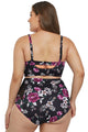 Purple Floral Push Up Balconette High Waist Plus Size Bikini