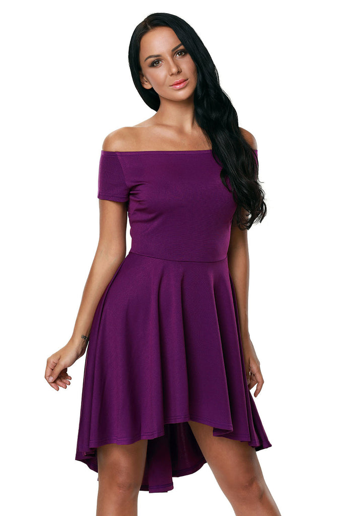 f0817b66767b ... Purple All The Rage Off Shoulder High Low Cocktail Party Skater Dress  ...