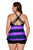 Purple Black Color Block Criss-Cross Straps Plus Size Tankini Set