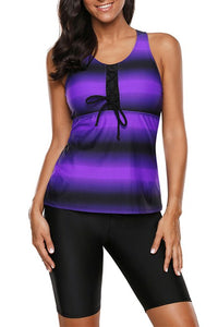 Purple Black Ombre Print Racerback 2 Piece Tankini Swimsuit