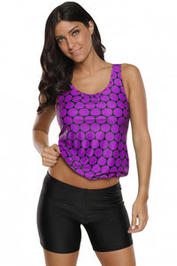 Purple Black Polka Dot Tank Top and Short Swimsuit