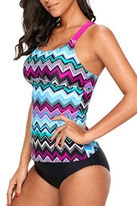 Purple Blue Zigzag Print Y Back Tankini Top