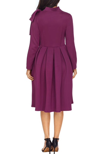 Purple Bowknot Embellished Mock Neck Pocket Skater Dress