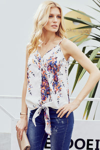 Purple Floral Sleeveles Summer Cami Top