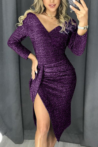 Purple Glitter Ruched Thigh Party Metallic Slit Dress