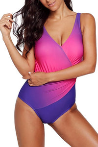 Purple Ombre Tie Dye Wrap Front Teddy Swimsuits