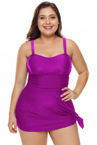 Purple Plus 2 Piece Shoulder Straps Skater Swimdress