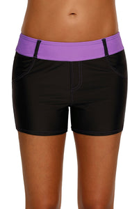 Purple Waistband Faux Denim Sports Shorts Swim Bottoms