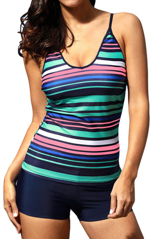 Rainbow Stripes Sprot Tankini Swimwear
