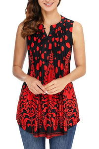 Red Black Floral Print Ruched Women Tank Top