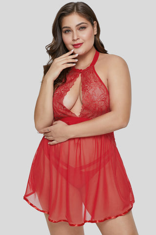 Red Plus Size Sheer Fantasy Cutout Babydoll Set