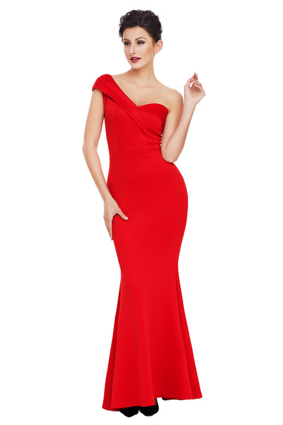 Elegant Red One Shoulder Ponti Gown