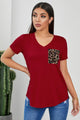 Red Leopard Printed Splicing Short Sleeve T-Shirt