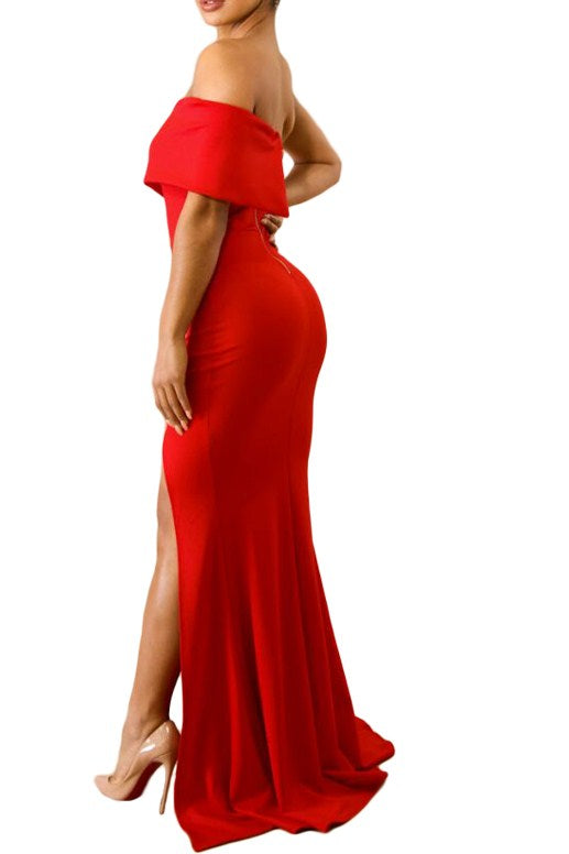 4de659c83a6a Red Off The Shoulder One Sleeve Slit Maxi Party Prom Dress MB61929-3 ...