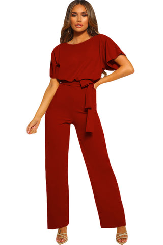 Red Oh So Glam Short Sleeve Belted Wide Leg Jumpsuit