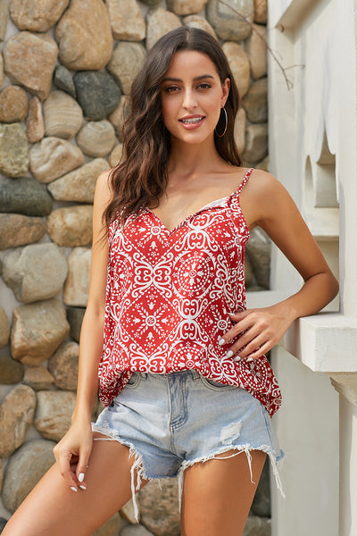 Red Spaghetti Strap Boho Holiday Camisole