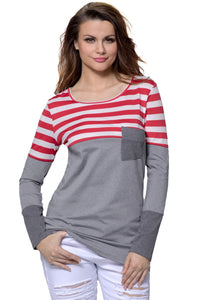 Red White Stripes Color Block Pocket Long Sleeve Blouse Top