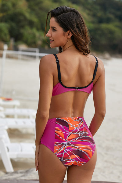 Rose Abstract Chains Print High Waist Bikini Set