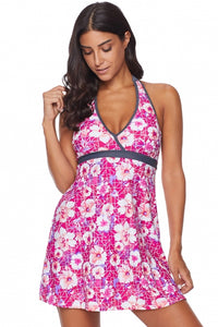 Rose Floral High Waist Swim Dress with Panty