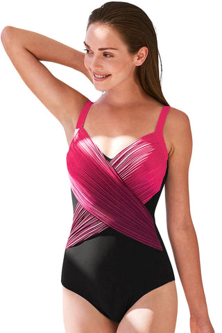Rose Pleated Cross Wrap Front One Piece Swimsuit