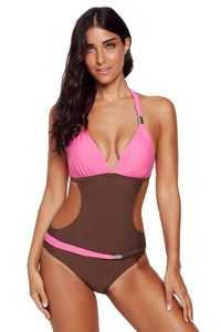 Rosy Color Block Push-up Halter One-piece Swimwear