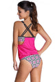 Rosy Layered-Style Printed Tankini Set with Triangular Briefs