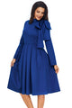 Royal Blue Bowknot Embellished Mock Neck Pleated Dress