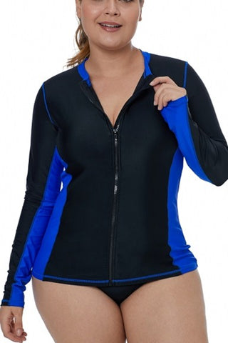 Royal Blue Detail Zip Front Long-Sleeve Rashguard Swim Top