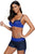 Royal Blue Navy Bicolor Patchwork Underwired Bikini Swimsuit