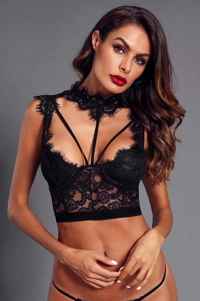 b4b6bdbf217 Sexy Black Lace Strappy Bustier Crop Top MB250934-2 – ModeShe.com