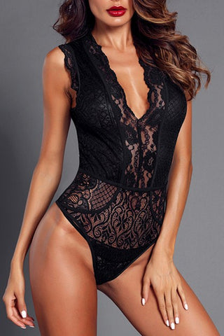 Sexy Black V Neck Hollow-out Lace Bodysuit