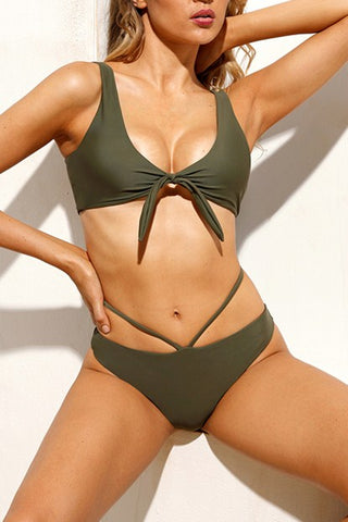 Sexy Green Brazilian Tied Push Up Bikini Swimsuit